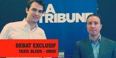 De gauche à droite, Thibault Simphal (Uber France) et Yann Ricordel (Taxis Bleus).