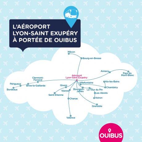 Ouibus relie l'aéroport de Lyon à 18 destinations en Auvergne-Rhône-Alpes