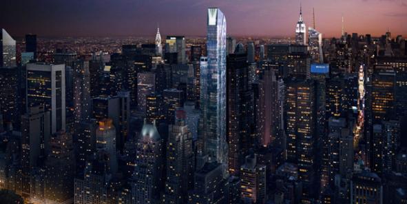 One 57, le plus haut et la plus luxueux immeuble d'habitation de Manhattan. / DR
