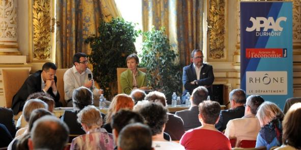 De gauche à droite Renaud George, Pierre-Marie Chapon, Annie de Vivie et Luc Broussy.©Laurent Cerino/Acteurs de l'économie