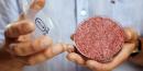 Le professeur Mark Post tient le premier steak haché de bœuf créé en laboratoire (viande in vitro) à Londres en août 2013