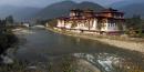 L'ancien centre administratif de Punakha Dzong, au Tibet, en mars 2011
