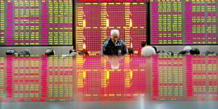 People look at an electronic board at a brokerage house in Shanghai February 25, 2011. As the battle for survival among major stock exchanges flares up, Shanghai and Hong Kong bourses look set for a showdown over foreign companies lining up to raise funds to fuel their ever-expanding operations in C