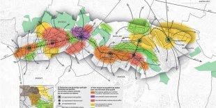 La stratégie d'aménagement et ses zones autour des 6 nouvelles gares de la ligne 11.