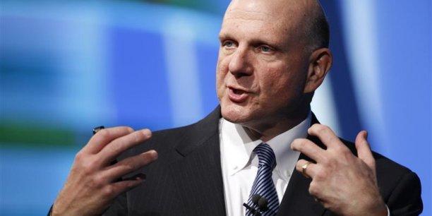 Steve Ballmer, le patron de Microsoft, partira d'ici un an (photo reuters)