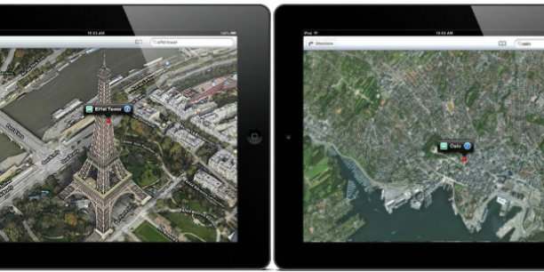Contrairement à Paris, ici en 3D, Oslo n'est visible qu'en 2D sur l'application Maps d'Apple.