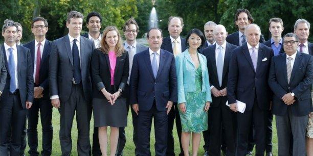 François Hollande a reçu à l'Elysée le 11 juin dernier des investisseurs américains et des représentants de la French Tech, dont Jérôme Lecat (à gauche), le fondateur et patron de Scality (Reuters).