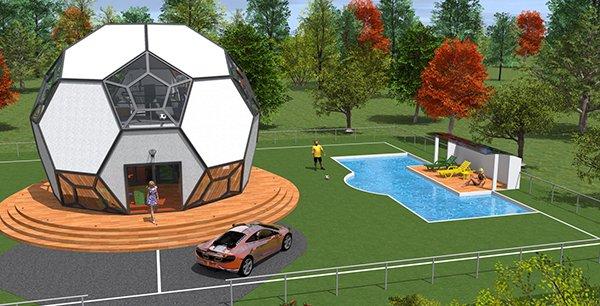 La maison en forme de ballon, lancée pour la Coupe du monde de foot