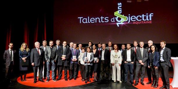 Lauréats et partenaires lors de l'édition 2013 des Talents de La Tribune - Objectif Aquitaine