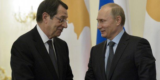 Le président chypriote, Nikos Anastasiades, et son homologue russe, Vladimir Poutine.