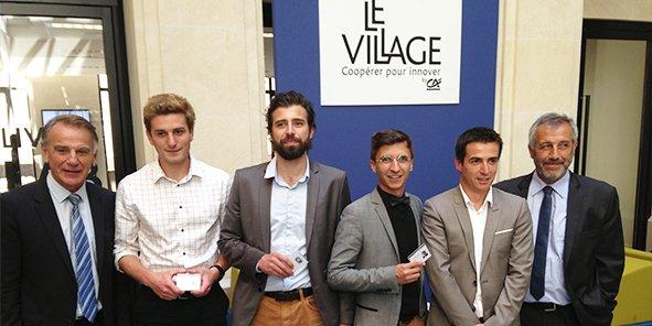 Jack Bouin (Crédit agricole d'Aquitaine), Nicolas Masson (Parking facile), Xavier Chetif (Hipok), Thomas Boisserie (Loisirsenchères.com), Lionel Moutouh (1001pneus) et Rémi Garuz (Crédit agricole d'Aquitaine)