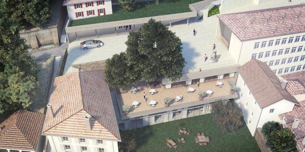 La future entrée du campus de l'ECAM Lyon avec son nouvel espace restauration (projection)