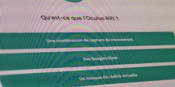 """Un exemple de question posée par le """"Tanu"""", l'outil de test d'évaluation des connaisssances numériques développé par le Crédit agricole Pyrénées Gascogne et Immersive Lab."""