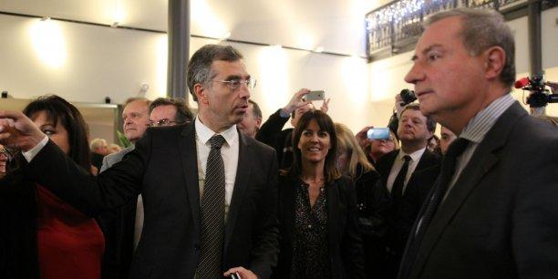 Dominique Reynié, Laurence Arribagé et Jean-Luc Moudenc dimanche soir à Toulouse.