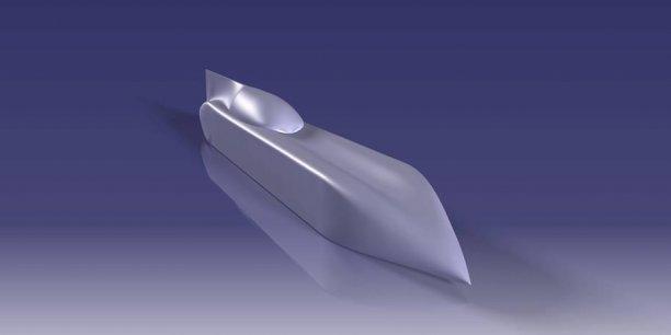 """La carrosserie du """"streamliner"""", dont le design est inspiré des avions, modélisée en 3D."""