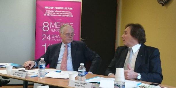 Bernard Gaud était accompagne de Pierre Streiff, président du Medef en Isère.