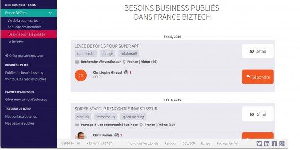 Pour créer des opportunités business, les utilisateurs de l'application sont invités à créer des Business Team.