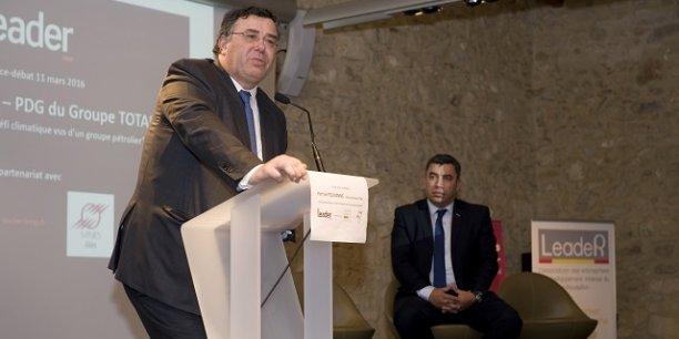 Patrick Pouyanné (Total), s'exprimant à Montpellier le 11 mars, aux côtés de Jalil Benabdillah (LeadeR LRMP)