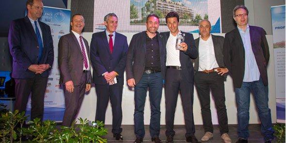 Les lauréats du Grand Prix (M&A), entourés de X. Bringer (FPI LR), P. Saurel (Ville de Montpellier) et S. Rossignol (La Grande Motte)
