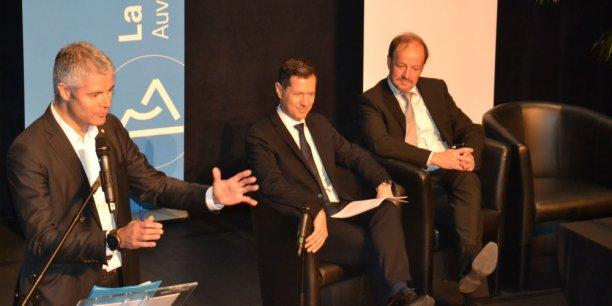 Laurent Wauquiez, Nicolas Daragon, vice-président en charge du tourisme et Frédéric Bonnichon, maire de Châtel-Guyon et conseiller régional