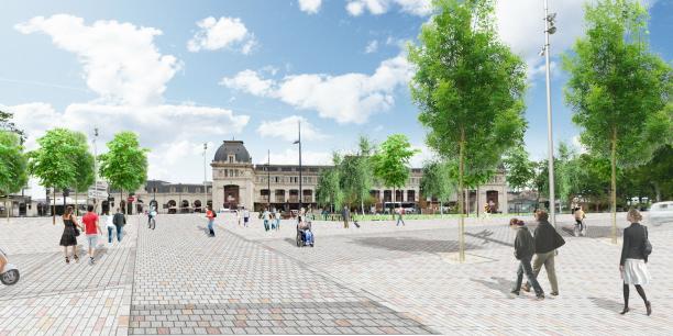Hypothèse d'aménagement du Parvis Canal (Crédits : Joan Busquets Agence BAU B)