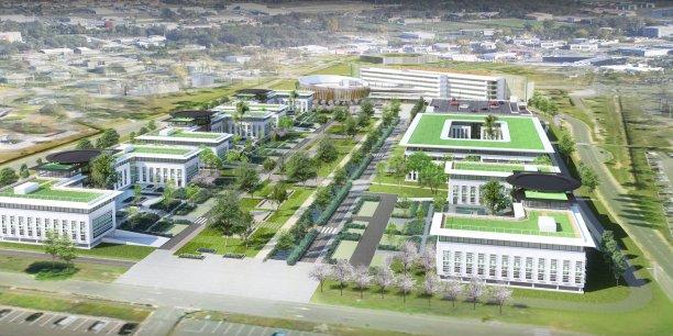 Le projet immobilier hôtelier et tertiaire 45e Parallèle, initié en 2012 par Thalium Promotion (ici une vue du projet depuis le parking de l'aéroport), est désormais porté par Nexity.