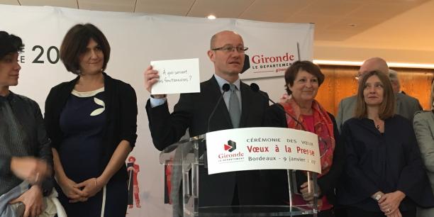 Dans son discours de rentrée face aux médias, le président du Conseil départemental, Jean-Luc Gleyze (PS), a rappelé qu'il préférait raisonner en termes qualitatifs plutôt qu'en termes quantitatifs comme c'est le cas du candidat à la présidentielle François Fillon (LR) parlant des fonctionnaires.