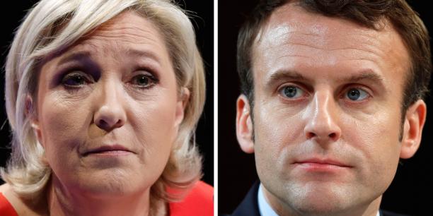 Marine Le Pen et Emmanuel Macron, en tête des sondages sur les intentions de votes.