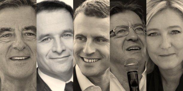 François Fillon, Benoît Hamon, Emmanuel Macron, Jean-Luc Mélenchon et Marine Le Pen, les cinq gros candidats à l'élection présidentielle, se distinguent par des approches différentes du rôle du numérique dans l'action publique.