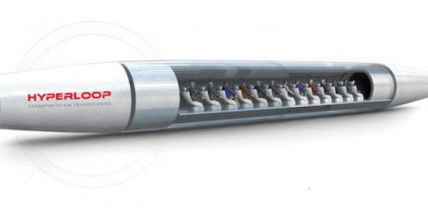 Représentation numérique de la capsule Hyperloop et de ses passagers.