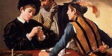 La toile Cardsharps (tricheurs) du peintre italien Caravage. From Wikimedia Commons, the free media repository.