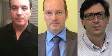 De gauche à droite, Victor Lamego, cofondateur de Dribbling, Lionel Songeon, président de Nanomade Concept, et Guillaume Lemaire, cofondateur de LRVision.