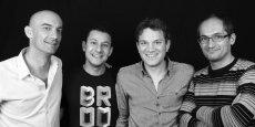Quatre lyonnais derrière Ubiquick : Benjamin Carpano, PDG, Karim Cadi, directeur technique, Nicolas Bombourg, directeur général et Julien Goncalves, directeur de la R&D