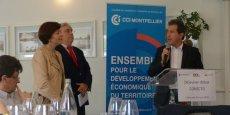 Carole Delga, aux côtés de Florent Mentionne (FMI) et André Deljarry (CCI de Montpellier)