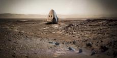 """""""Dragon 2 est conçu pour pouvoir se poser n'importe où dans le système solaire. La mission Red Dragon vers Mars est le premier vol essai"""", a affirmé sur Twitter le propriétaire de SpaceX, Elon Musk."""
