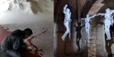 """De gauche à droite : """"Labyrinthe"""" de Motoï Yamamoto, """"Flux et reflux"""" de Jean-Pierre Formica."""