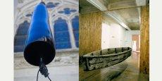 De gauche à droite : Lamentaciones (2007-2009) de Javier Pérez,Barque-miroir (2002) de Marc Couturier.