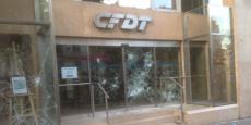 Le siège de la CFDT après les dégradations commises jeudi 23 juin.