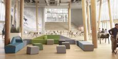 La collection de mobilier Mendi a ouvert la porte à de nouveaux marchés qui ont fait sortir Sokoa des salles de réunion et des bureaux. Ici, elle se retrouve dans le hall d'accueil de Quiksilver Europe