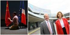 Sommet économique France-Chine en juillet 2015/ Anne-Marie Idrac et Jean-Michel Vernhes au sommet économique France-Chine devant l'aéroport.