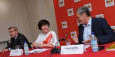 Pierre Pouëssel, préfet de l'Hérault ; Carole Delga, présidente de la Région Occitanie ; Philippe Saurel, président de la Métropole
