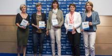 Les cinq lauréates de l'édition 2016 Rhône-Alpes des La Tribune Women's Awards. De gauche à droite : Véronique Trillet-Lenoir (Clara), Marie-Gabrielle Jouan (BGene Genetics), Marie-Luce Bozom (Phoebus Communication), Lethicia Rancurel (Tuba), Valérie Lorentz-Poinsot (Boiron)