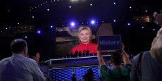 Hillary Clinton parlant depuis New York lors de la convention démocrate qui se déroule cette semaine à Philadelphie, en Pennsylvanie.