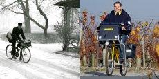 La Poste et le vélo, c'est vraiment toute histoire... (A gauche, cette scène hivernale d'un facteur qui brave les intempéries est datée autour de 1950 par le Musée de La Poste, lequel Musée précise que les premières tournées à bicyclettes ont débuté en… 1893. A droite, photo prise en 2008 d'une factrice traversant le vignoble de Margaux pendant sa tournée à vélo).