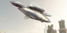 Vue artistique du projet de voiture volante d'Airbus.