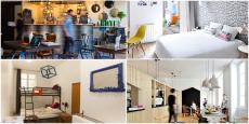 De gauche à droite, et de haut en bas : Ho36, Slo living hostel, Le Flâneur et Away hostel.