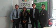 De g. à d.: Yves Christol, Chantal Marion, vice-présidente de la Métropole de Montpellier, Frédéric Guyot, directeur général délégué de Gamme Vert et Pascal Peny