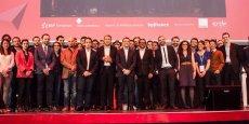Les finalistes de l'édition 2016 accompagnés par Emmanuel  Macron, lors de la cérémonie de remise des prix, au Grand Rex, en avril dernier.