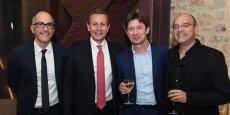 Jean-Claude Gallo (Objectif LR), Alain Marty (président du Wine Business Club), Dominique Seau (Eminence) et Pierre Mestre (Orchestra).