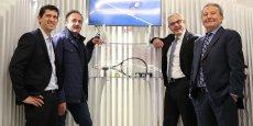 Nicolas Sillon (responsable du CEA Tech Occitanie), Ludovic Le Moan (CEO Sigfox), Alain Di Crescenzo (président de la CCI Toulouse) et Alain Costes (membre de la CCI) ont inauguré le Connected Point.